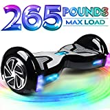 TOMOLOO Music-Rhythmed Hoverboard for Kids and Adult Two-Wheel Self-Balancing Scooter- UL2272 Certificated with Music Speaker- Colorful RGB LED Light (K1-Black)