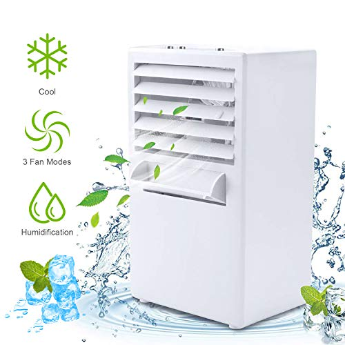Room Circulator (Air Conditioner Fan, Personal Air Cooler Portable Desktop Fan 3 Speed Mini Misting Evaporative Circulator Humidifier Noiseless Purifier for Room Office Desk Nightstand Dorm -Small 9.5-inch (White))
