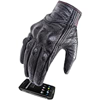 Women 's Full Finger Motorcycle Gloves Hard Knuckle Armored Leather Motorcycle Gloves Touchscreen (Black leather with Rose Line,XS)