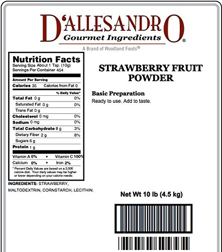 Fruit Powder, Strawberry - 10 Lb Bag / Box Each by D'allesandro (Image #1)