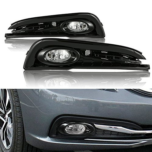 cciyu Clear Lens Replacement Fog Lights Assembly Front Bumper Lamps Driver and Passenger Side Replacement fit for 2013-2015 Honda Civic 4DR (Honda 4dr Civic Plug)