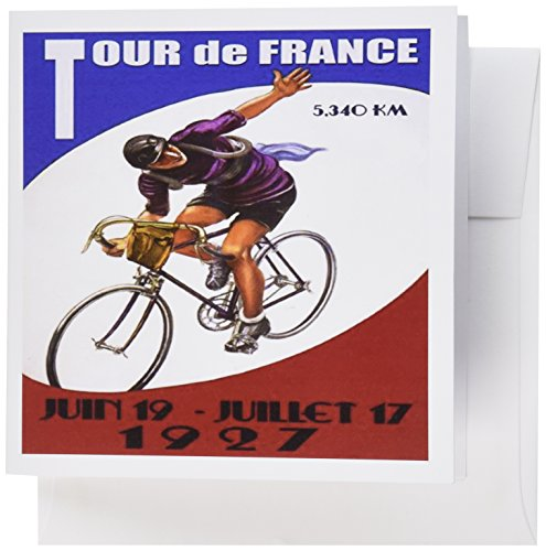 3dRose print of french tour de france poster with man riding bike - Greeting Cards, 6 x 6 inches, set of 12 (gc_184260_2)