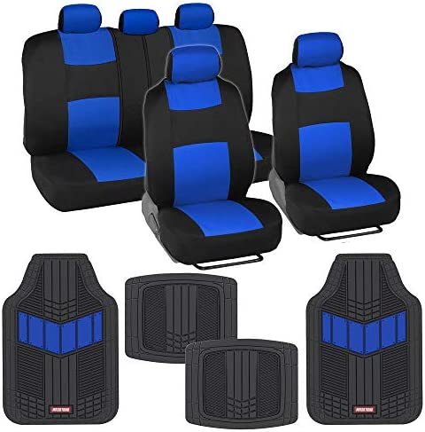 BDK Two-Tone PolyCloth Car Seat Covers Full Set Combo with Motor Trend Dual-Accent Heavy Duty Rubber Floor Mats, Black & Blue – Universal Fit for Car Truck Van SUV