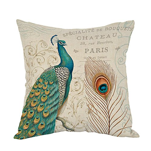 - Moslion Peacock Pillow,Home Decor Throw Pillow Cover with Feather And Letter Cotton Linen Cushion for Couch/Sofa/Bedroom/Livingroom/Kitchen/Car 18 x 18 inch Square Pillow case