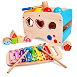 rolimate Hammering & Pounding Toys Wooden Educational Toy Learn 8 Notes Xylophone + Shape Sorter Color Recognition, Best Gift Toy for Age 1 2 3 Years Old and Up Kid Children Baby Toddler Boy Girl