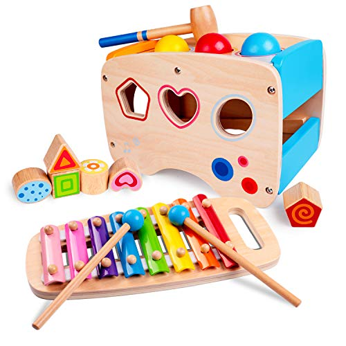 rolimate Hammering & Pounding Toys Wooden Educational Toy Learn 8 Notes Xylophone + Shape Sorter Color Recognition, Best Gift Toy for Age 1 2 3 Years Old and Up Kid Children Baby Toddler Boy Girl (Best Gifts For 12 Month Old Girl)
