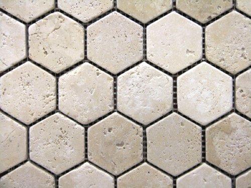 hexagon-2x2-tumble-light-beige-travertine-mosaics-meshed-on-12x12-sheet-tiles-for-kitchen-backsplash
