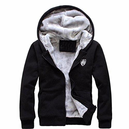 ManxiVoo Tracksuit Men Warm Jogging Sweatsuit Gym Activewear Full Zip Top Fleece Sport Coat Sweater Set (M, Black)