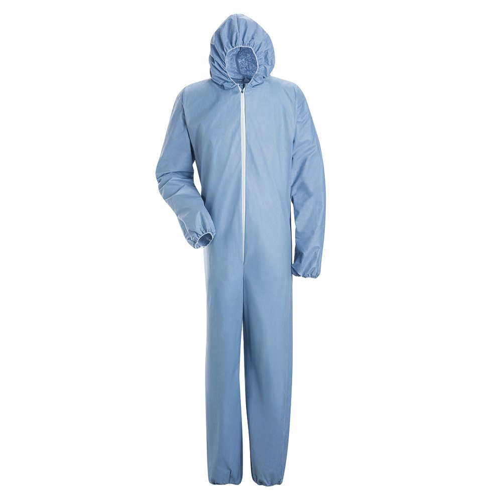 Bulwark Flame Resistant PVC Coated Chemical Splash Disposable Hooded Coverall, Sky Blue, 4X Large
