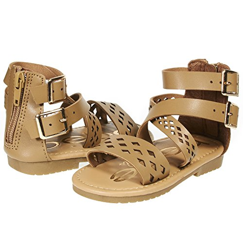 b2cb04d62 Galleon - Bebe Girls Toddler/Little Kid Laser Cut Perforated Wide Strap Flat  Gladiator Sandals With Back Zipper Size 7 Cognac/Gold