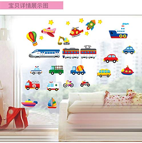 ajhsuwn Cartoon Trucks Tractors Cars Wall Stickers Kids Rooms Vehicles Wall Decals Art Poster Photo Wallpaper Home Decor Mural Decal