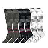 6 Pairs Compression Socks Unisex 20-30 mmHg Medical Grade Stocking (3 Color, S/M)