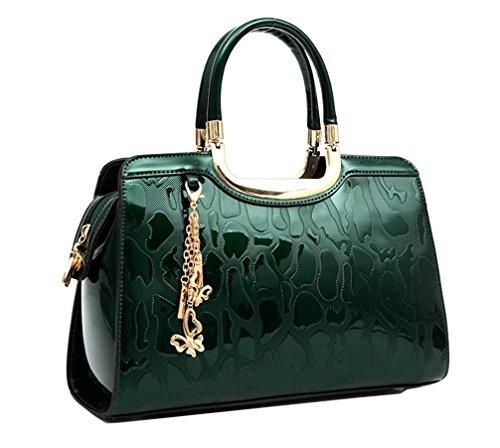 Yan Show Women's New Patent Leather Shoulder Bags Embossed Totes Stone Pattern Handbags Butterfly Pendant - Green Patent Embossed Handbag