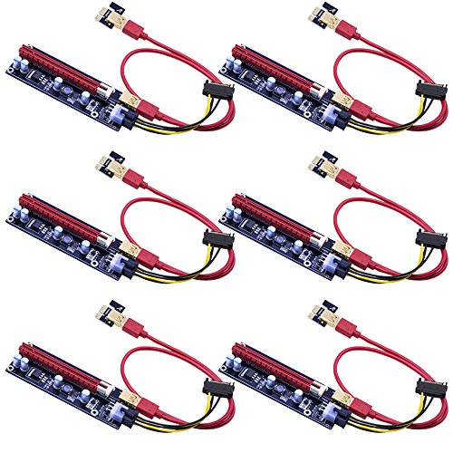 Mailiya 6-Pack PCIe Dual Chip PCI-E 16x to 1x Powered Riser Adapter Card w/ 60cm USB 3.0 Extension Cable & 6 Pin PCI-E to SATA Power Cable - GPU Riser Adapter Extender Cable - Ethereum Mining ETH Vga Install Kits