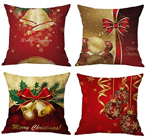 Merry Christmas Series Cotton Linen Decorative Throw Pillow Covers 18 Inch By 18 Inch (Xmas Bells & Bow) (Decorative Christmas)