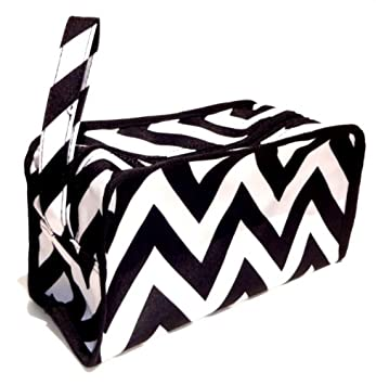 046c459cd020 Best Black & White Chevron Hanging Shaving Toiletry Travel Bag Case with  Zipper & Strap Hanger Top...