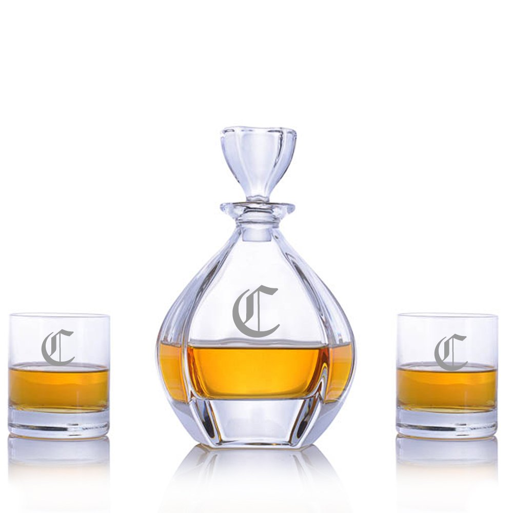 Custom Laguna Crystal Whiskey Liquor Decanter Set with 2 Rocks Glasses by Crystalize Engraved & Monogrammed (3 Piece Set-Customizable)