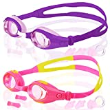 COOLOO Kids Swim Goggles, Pack of 2, Swimming Glasses for Children and Early