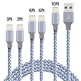 [5 Pack ] iPhone Charger, Nylon Braided Lightning Charging Cable Cord Compatible with iPhone Xs/Max/XR/X/8/8Plus and More-3/6/10FT