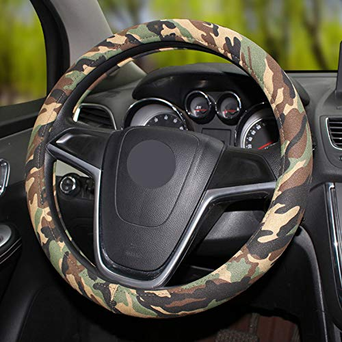 AmazingMade Camouflage Car Steering Wheel Cover Universal 15 inch (Green)