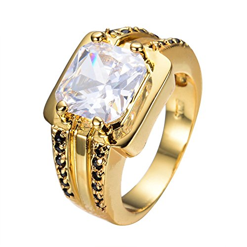 PSRINGS Punk Style White &Black Square Zircon Ring Yellow Gold Filled Wedding Party Rings Bohemian Jewelry - Friday Emerald Mall Square Black