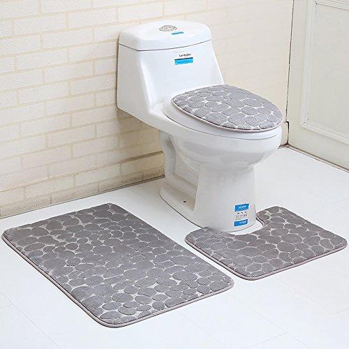 Urstory1 Non-Slip Pedestal Rug,2/3Pcs Bath Mat Pedestal Toilet Bathroom Rug Machine Washable,Flannel Soft & Comfy Cashmere Toilet Lid Tank Cover Toilet Seat Cover Toilet Mat Bathroom(2pcs,Gray) from Urstory1