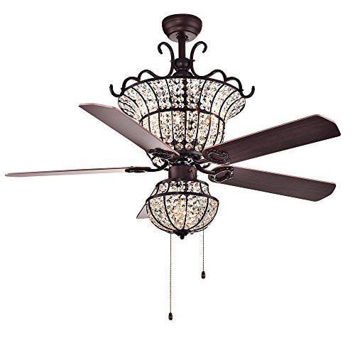 Warehouse of Tiffany CFL-8154BR Charla 4-Light Crystal 52 inch Chandelier Ceiling Fan, Red