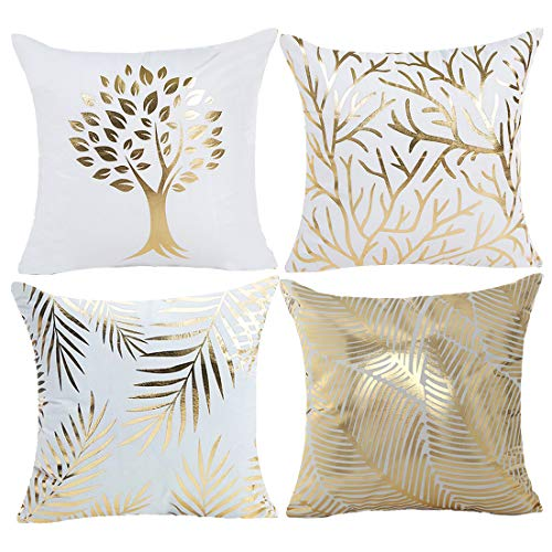 misaya Bronzing Home Pillowcase 18x18 Decorative Cushion Pillow Cover Couch Gold Throw Pillow Covers Set of 4 Grass & Tree & Branch & Leaves ()