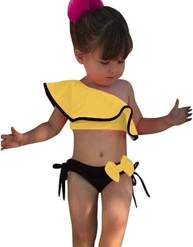 Bañador Bebe Niña, 2 Piezas Traje De Baño Moda Monokini Sin Tirantes Sólido con Volantes Dividir Natación Verano Tops Pantalones Cortos Monokini Bañador 2020 Brasileño Bikini: Amazon.es: Ropa y accesorios