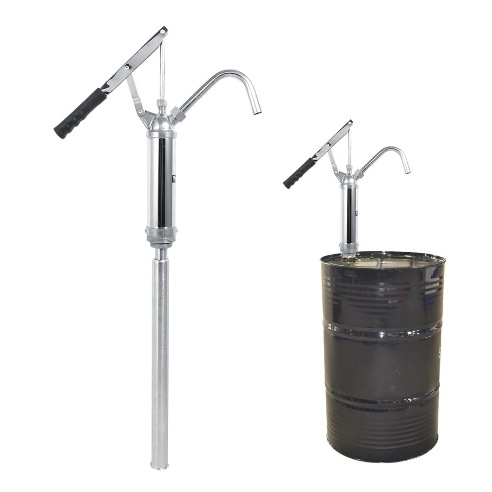 Barrel Pumps, Hand Operated Lever Action Barrel Drum Fuel Transfer Pump Kit Diesel Oil Transfer Extractor with Removable Nozzle