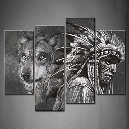 4 Panel Wall Art Black And White Wolf And Indians Painting The Picture Print On Canvas Animal Pictures