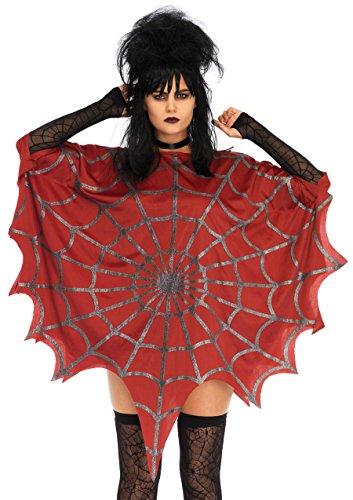 (Leg Avenue Women's Glitter Web Poncho, Red, One Sizes Fit)