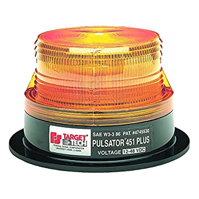 Federal Signal 211682-02 Pulsator 451 Plus Amber Low-Profile Strobe Beacon (8-Joule, Double Flash, Magnetic Mount): Automotive