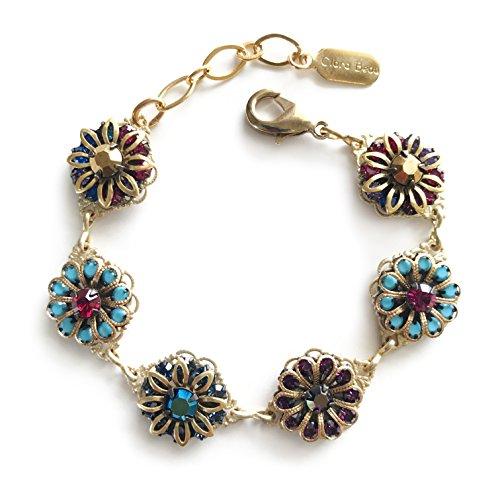 (Clara Beau Lovely Multicolor Flower Mosaic Swarovski Crystal GoldTone Filigree Bracelet BF51 Mod)
