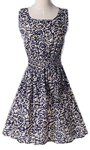 Zhaoyun Women's Round collar Sleeveless Floral Print Elastic waist A-Line Dress 3#-XL