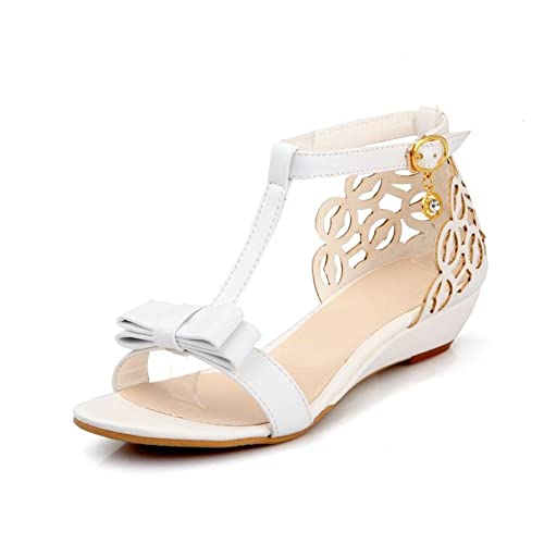 6855c5dd50d Image Unavailable. Image not available for. Color  Susanny Ankle Buckle  Strap Bowknot Women Wedge Sandals Elegant Summer White Open Toe ...
