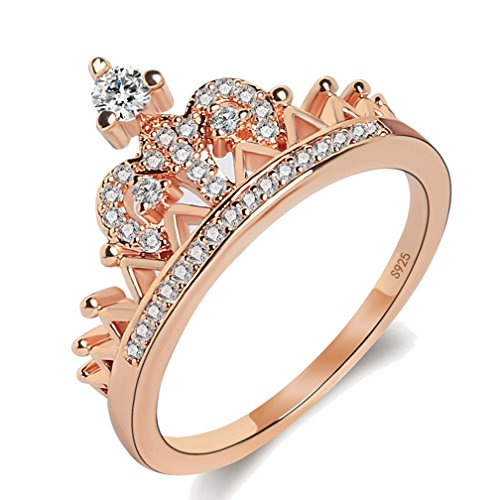 Women's Crown Tiara Rings Exquisite 18K Rose Gold Plated Princess Tiny CZ Diamond Accented Promise Rings for Her Size 5
