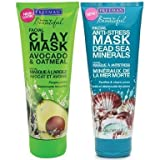 Freeman Facial Clay Mask Freeman Facial Mask Variety Bundle, 6 fl oz, Pack of 2, 1 Tube Avocado & Oatmeal Facial Clay Mask and 1 Tube Dead Sea Minerals Facial Anti-Stress Mask