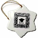 3dRose InspirationzStore Occasions - Class of 2016 graduation memento - black and white graduate hat cap - high school college university - 3 inch Snowflake Porcelain Ornament (orn_120292_1)