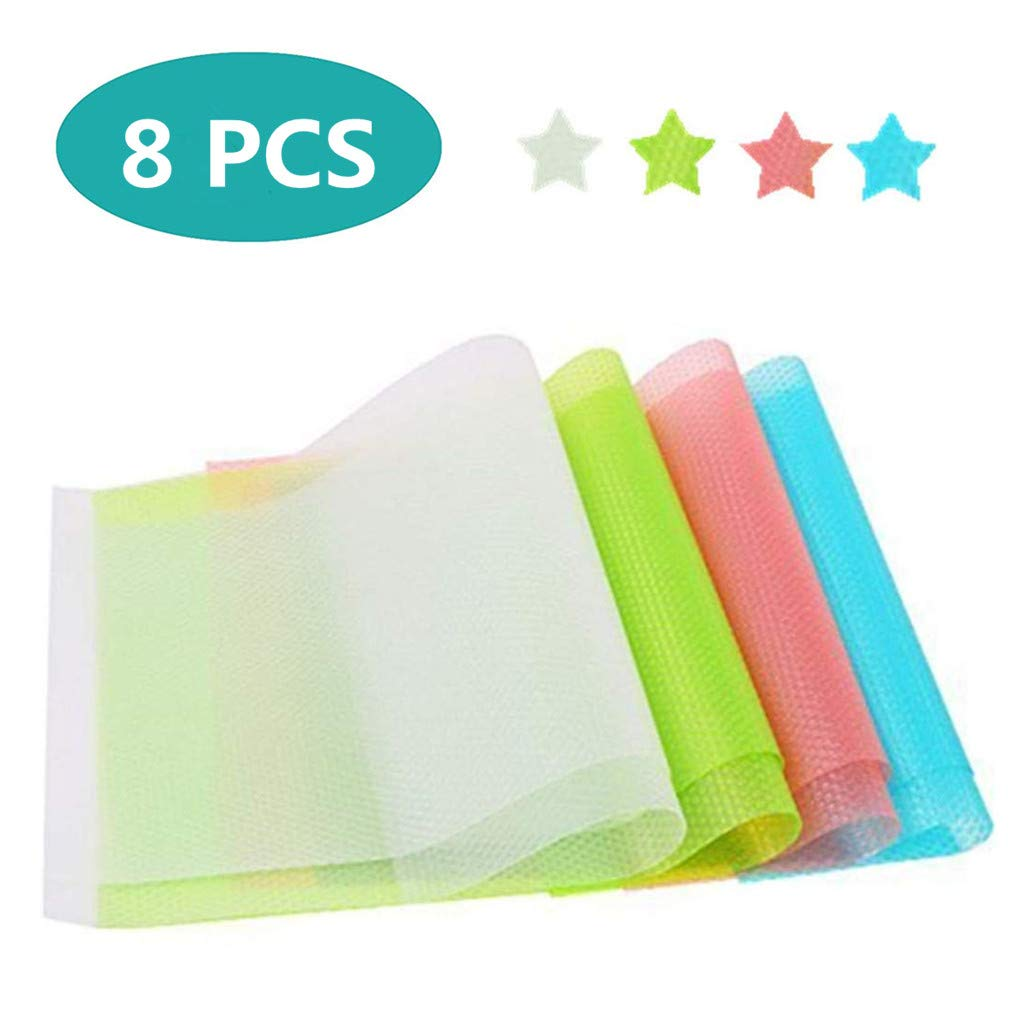 Soqool 8 PCS Durable Fridge Shelf Liners, Non Adhesive Kitchen Drawer and Cabinet Liner EVA Refrigerator Mats for Shelf, Multipurpose Liners for Home/Kitchen(4 Color, 2Green +2Blue+2Pink+2White)