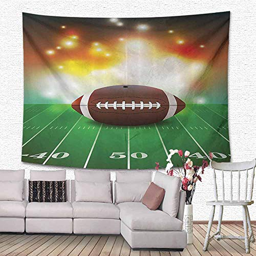 HouseLook Sports Decor Wall Art Decor Tapestry American Football Ball with Golden Properties On Grass Turf Field Team Art Graphic Wall Tapestry for Dorm 90.5
