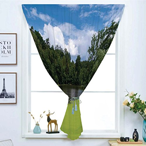 (Blackout Window Curtain,Free Punching Magic Stickers Curtain,Lake House Decor,Pond Full of Alga in North European Countryside Odd Magical Nature Themes Print,Green Blue White,Paste style,for Living Ro)