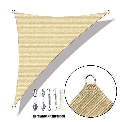 Alion Home Custom Right Triangle HDPE UV Block Sun Shade Sail Permeable Canopy with Stainless Hardware Kit 9 x 9 x 13 , Beige