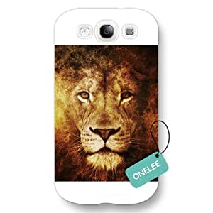 Onelee(TM) - The King of Prairie African lion Samsung S3 Hard Plastic Case & Cover - White 02