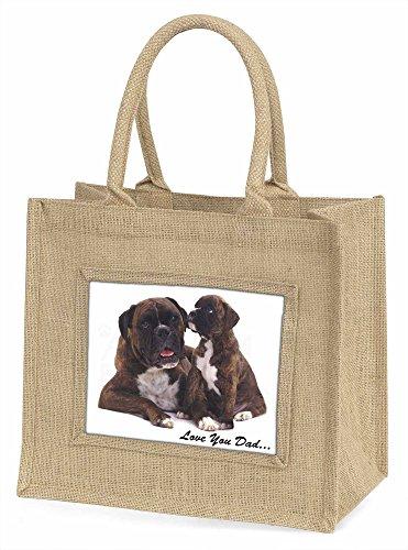 Advanta dad-6bln Boxer Hund Love You Dad Große Einkaufstasche/Weihnachten Geschenk, Jute, beige/natur, 42x 34,5x 2cm