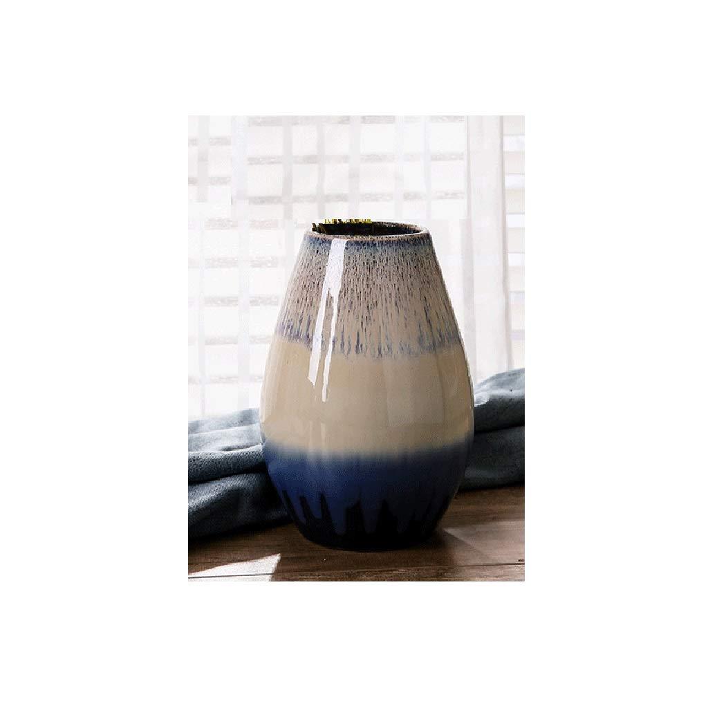 ヨーロッパの陶製の花瓶、居間のカウンタートップ、小さな装飾品、陶磁器の装飾品 SHWSM (サイズ さいず : B high 23CM) B07SBTJ7D4  B high 23CM