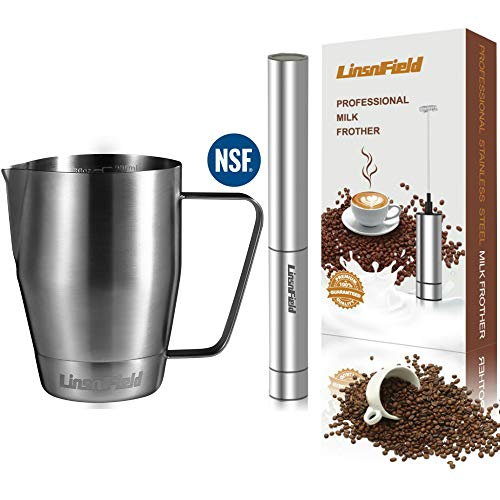 Pro Quality LinsnField 32oz Milk Frother Pitcher & Frother COMPLETE SET - NO ELECTROPLATING or HIGH MANGANESE STEEL - Pro-Grade Premium 304 S/S Milk Frothering Pitcher for Lifetime Use