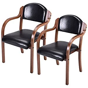 amazon dining room furniture | Amazon.com - Costway Set of 2 Dining Arm Chairs Bent Wood ...