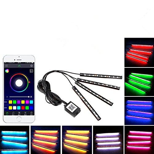 SJPLIght Car LED Strip Lights, 4 Pcs 48 LEDs Car Interior RGB Music Atmosphere Floor Underdash Lights, APP Control Bluetooth Light Kit for Iphone/Android/Google Phones by SJPLIght (Image #5)