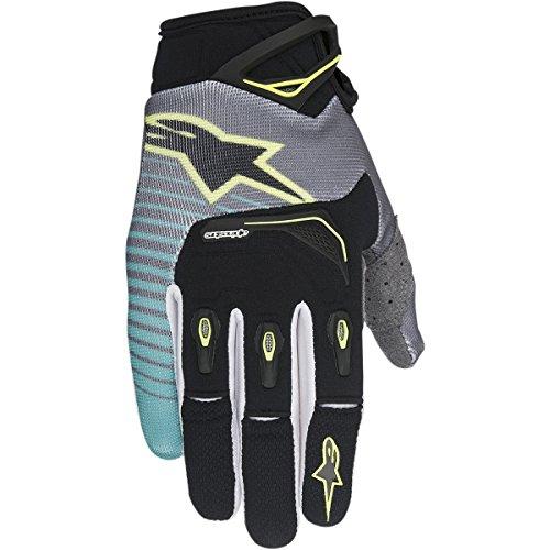 Alpinestars Unisex-Adult Techstar Gloves (Black/Teal/Yellow, X-Large) (Alpinestars Gloves Xl)